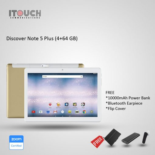 """Discover Note 5 Plus 64GB 4GB 10.1"""" Tablet Gold + Free Bluetooth Headset & Flip Cover"""